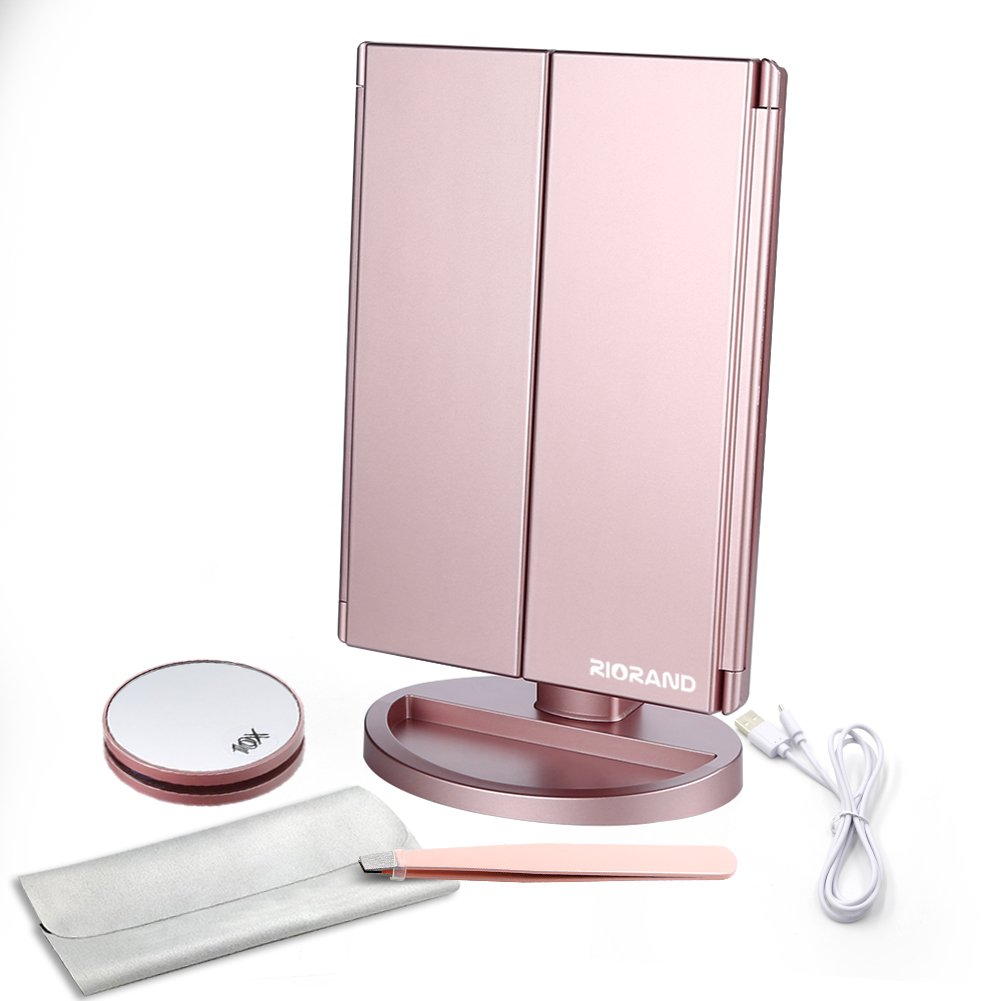 RioRand Lighted Vanity Mirror Rose Gold LED Trifold Makeup Mirror with Touch Screen and Upgraded 6 Warm White Lights - Bonus 10X Magnification Mirror and Eyebrow Tweezer by RioRand (Image #7)