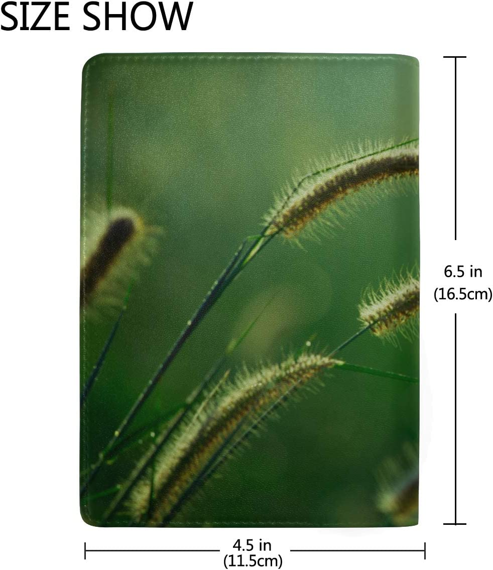 Beautiful Meadow Bristle-grass Blocking Print Passport Holder Cover Case Travel Luggage Passport Wallet Card Holder Made With Leather For Men Women Kids Family