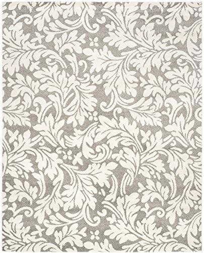 Safavieh Amherst Collection AMT425R Floral Area Rug, 8 x 10 , Dark Grey Beige