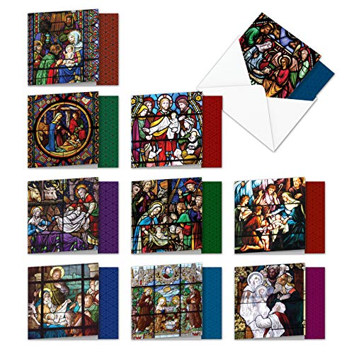 - AMQ6127XSG-B1x10 A Star Is Born: 10 Assorted Set of New 'Square-Top' Cards Featuring Glorious Images of the Nativity Recorded on Stained Glass, with Envelopes 4 x 5.12 inch