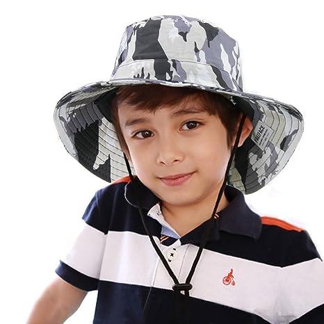 bd6021b3e46 Chapeau Capeline Enfant Chapeau Soleil Enfant Garçon Fille Été Casquette  Visière Chapeau Anti UV avec Mentonnière