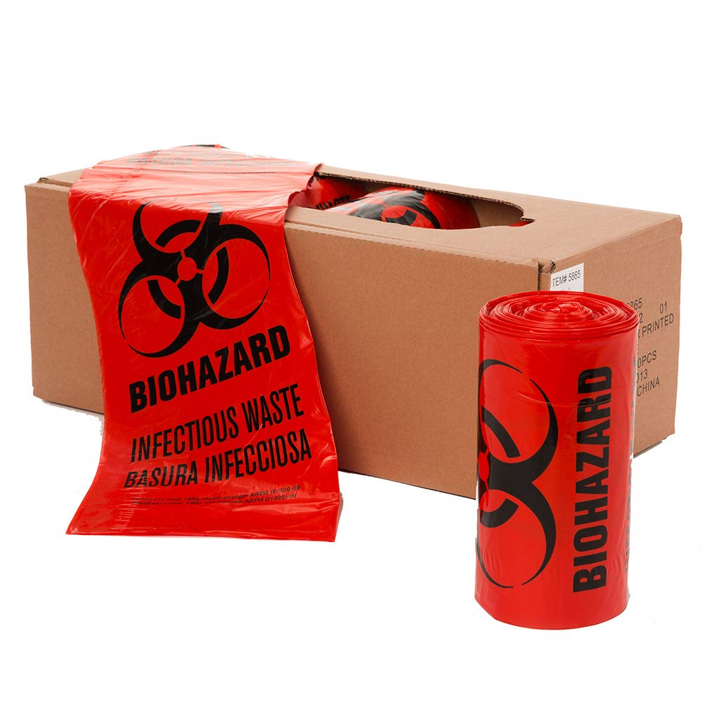 40'' x 46'' Biohazard Healthcare Infectious Waste Bin Liner 1.3 MIL, Red Film - Black Print 40-45 Gallons (100 Bags/Case) by TCDTAPE