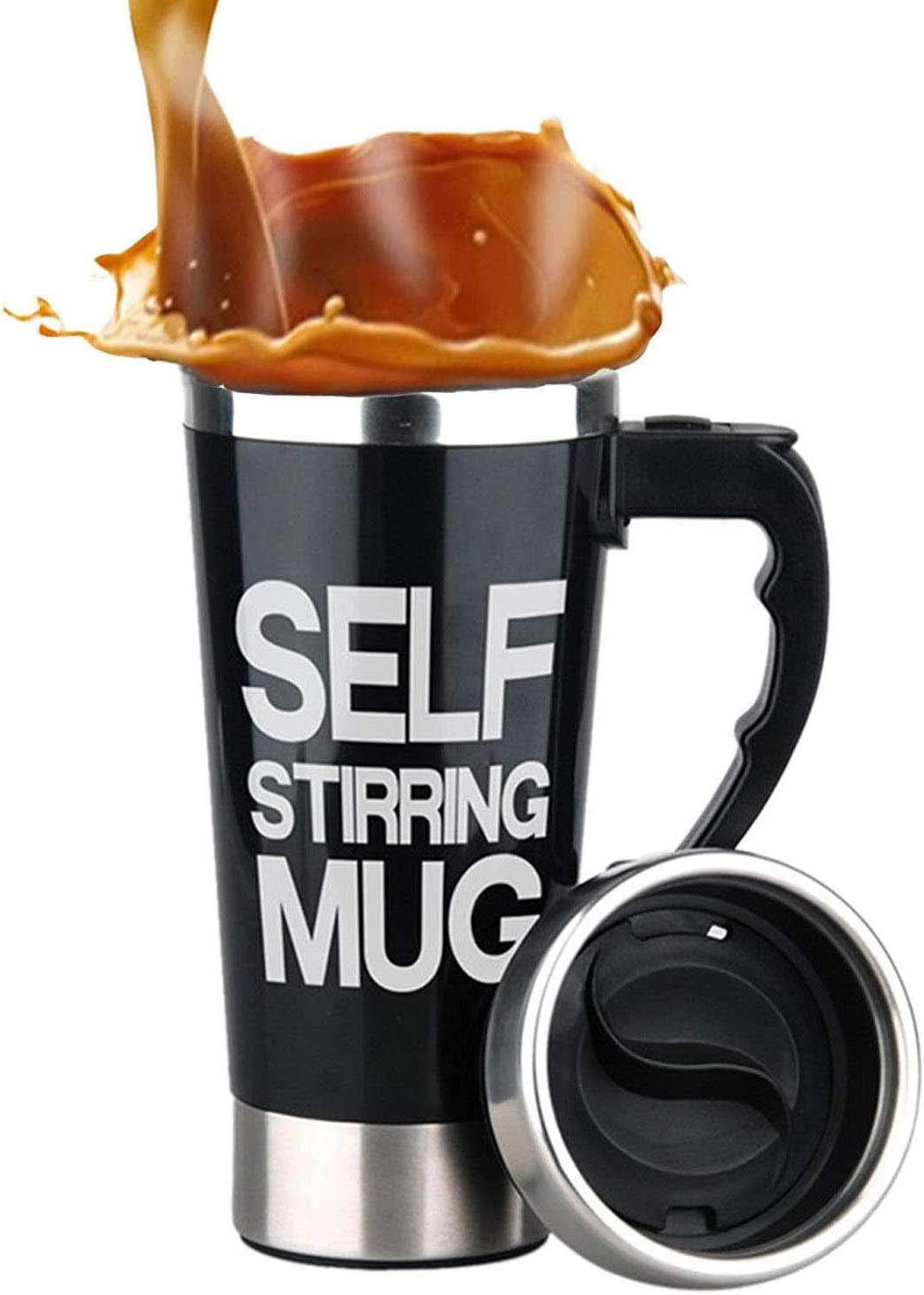 Mengshen Cafe Tazas Portable Self Stirring Mug Steel Stainless Shaker Auto Mixing Water Tea Coffee Cup Perfect for Office Home Travel Gift 450ml, A008A Black