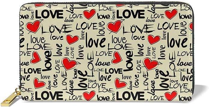 Women Genuine Leather Wallets Valentine Heart Credit Card Holder Organizer Ladies Purse Zipper Around Clutch Cash Pocket