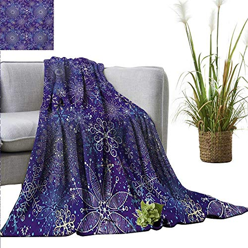 AndyTours Weighted Blanket for Kids Dark Blue,Christmas Inspired Pattern with Artistic Ornate Curly Snowflakes Mandala Style,Multicolor Weighted for Adults Kids, Better Deeper Sleep ()