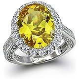 Bling Jewelry 925 Sterling Silver Oval 6 Carat CZ canarino giallo anello di fidanzamento