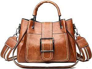 POPOTI Bolsos de Hombro,Bolsos Mano Mujeres Cuero Bolso de Mensajero Messenger Crossbody Bag Nuevos Bolsillos de Compras Elegantes de la Señora Bolsos Bandolera (Marrón)