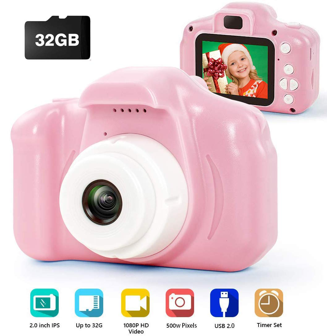 Kids Digital Camera for Girls,Best Birthday Gifts for 3-8 Year Olds Girls,Toys for Girls Age 4 5 6 7 8,Kids Video Camera Recorder Rechargeable Camera Shockproof 8MP HD Toddler Cameras (32GB)