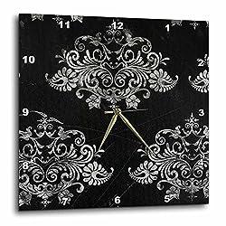 3dRose dpp_48541_3 Black Distressed Damask-Wall Clock, 15 by 15-Inch