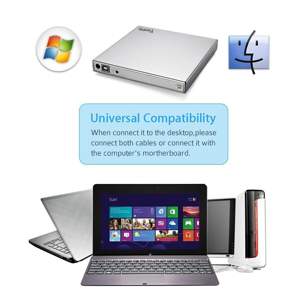 External CD Drive,Ploveyy USB 2.0 aluminum External DVD-Reader with CD-RW Burner Drive Drive For Windows 2000/XP/Vista/Win 7/Win 8/Win 10 Notebook PC Desktop Computer,Plug and Play (Silver) by Ploveyy (Image #5)