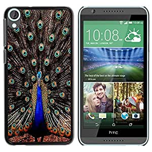 LASTONE PHONE CASE / Slim Protector Hard Shell Cover Case for HTC Desire 820 / Peacock Feathers Iridescent Blue Bird by ruishername