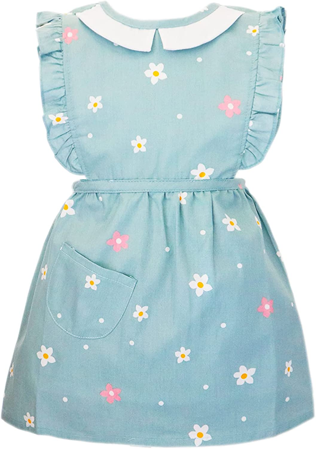Cute Girls Floral Skirt Kids Apron with Waterproof Lining for Painting Baking Kitchen Apron Aged 6M-4Y