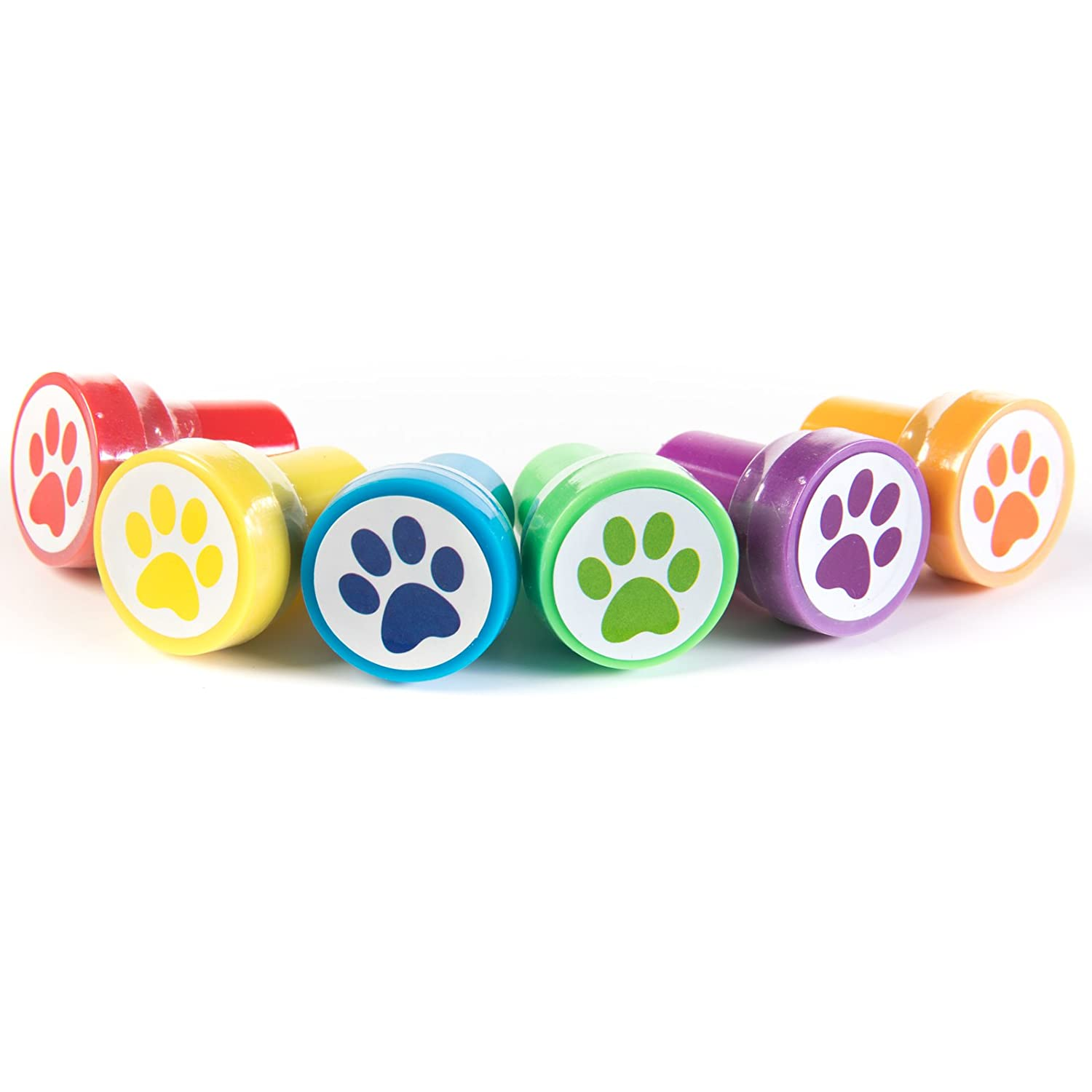 HUJI Paw Print Stampers 24 Pieces Birthday Supplies Bag Accessories Toys Classroom Teachers Reward Activities for Childrens Party Favors Birthday Parties School 24, Paw Print Stampers