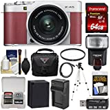 Fujifilm X-A5 Wi-Fi Digital Camera & 15-45mm XC Lens (Pink) with 64GB Card + Battery & Charger + Case + Tripod + Flash + Filter + Kit
