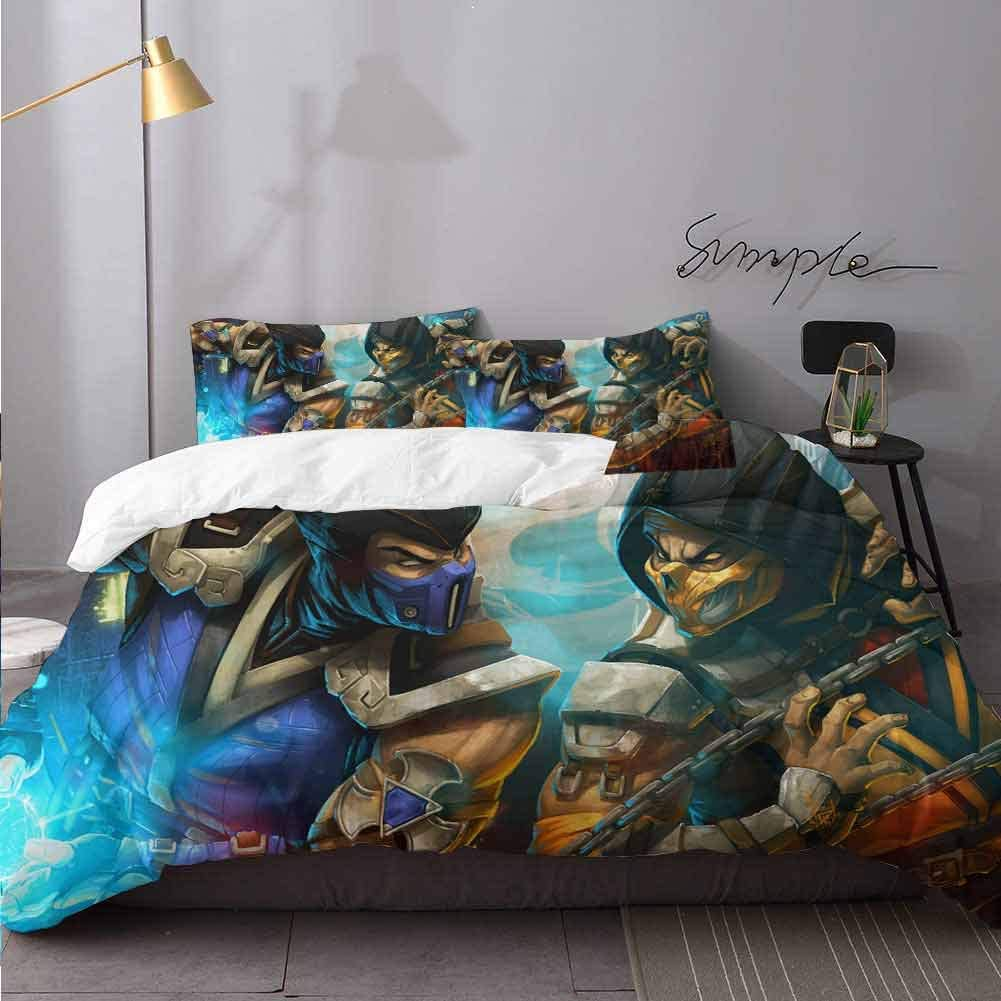 HeKua Bed Sheets Set K Mortal Kombat Mm Bed Sheets and Comforter Set Bedding 3 Piece Duvet Cover Set Twin