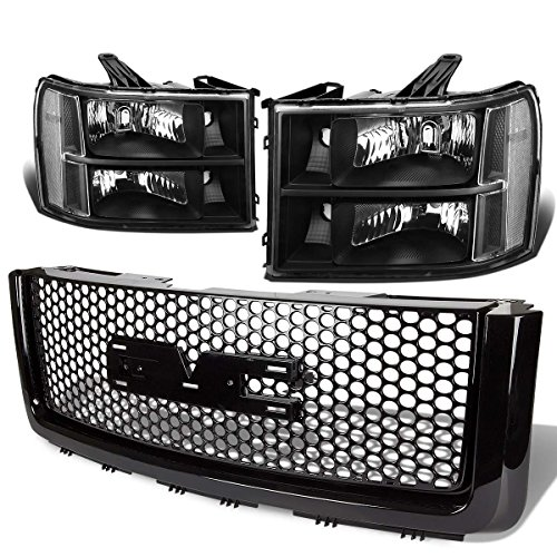 For GMC Sierra GMT900 Pair of Black Housing Clear Corner Headlight+Black Front Grille