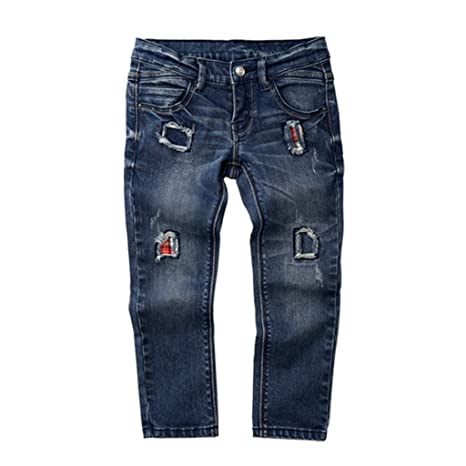 Vaqueros para Niños Pantalon de Parche Mezclilla de Moda del ...