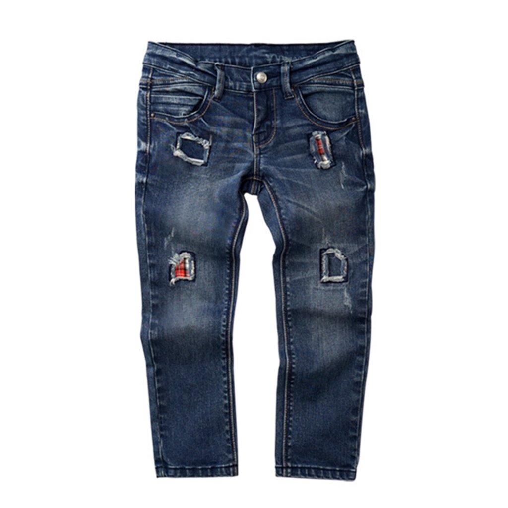 Vine Kids Boys Jeans Ripped Hole Denim Pants Fashion Patch Trousers Blue Vine Trading Co. Ltd K180717NZK001V