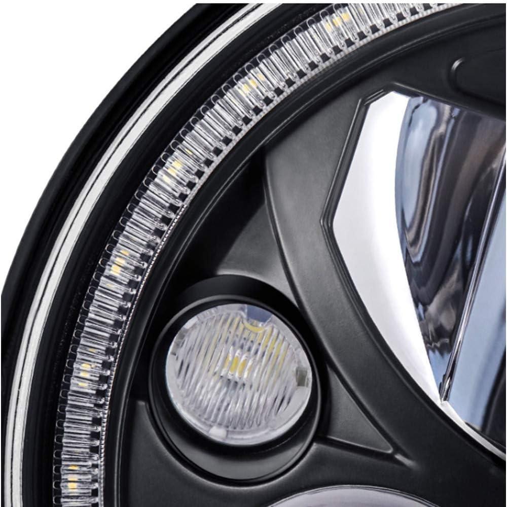 7 Round LED-Scheinwerfer Wei/ß Halo Motorrad-Scheinwerfer DOT Emarked,Schwarz