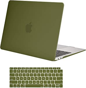 MOSISO MacBook Air 13 inch Case 2020 2019 2018 Release A2179 A1932 with Retina Display, Plastic Hard Shell Case & Keyboard Cover Only Compatible with MacBook Air 13 with Touch ID, Capulet Olive