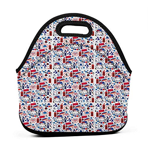 - Travel Case Lunchbox with Zip London,Pattern with London Symbols Queen Elizabeth Umbrella Tea Party Map Travel Theme, Multicolor,lunch bag for girl kids