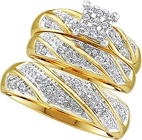 His and Her Trio Wedding set 0.30ctw diamond cluster trio set real Diamond Yellow-gold 10K Bride grooms (i2/i3, i/j)