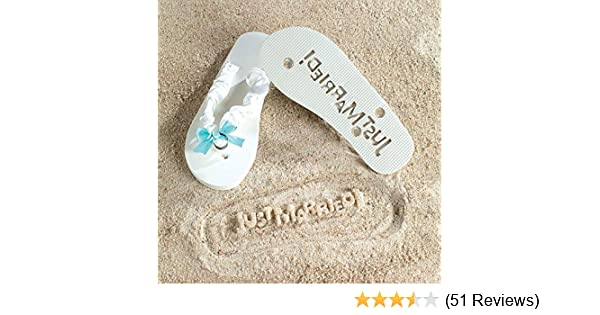 366a7178d Amazon.com  Just Married Flip Flops - Stamp Your Message in the Sand! - 10  inch Flip Flops