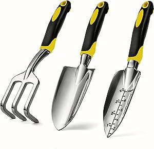 REKALEADER Garden Tool Set, 3 Pcs Garden Tool Kits, Trowel, Transplanter and Cultivator, Aluminum Alloy Hand Garden Tool with Ergonomic Handle, Garden Hand Shovels for Digging, Transplanting