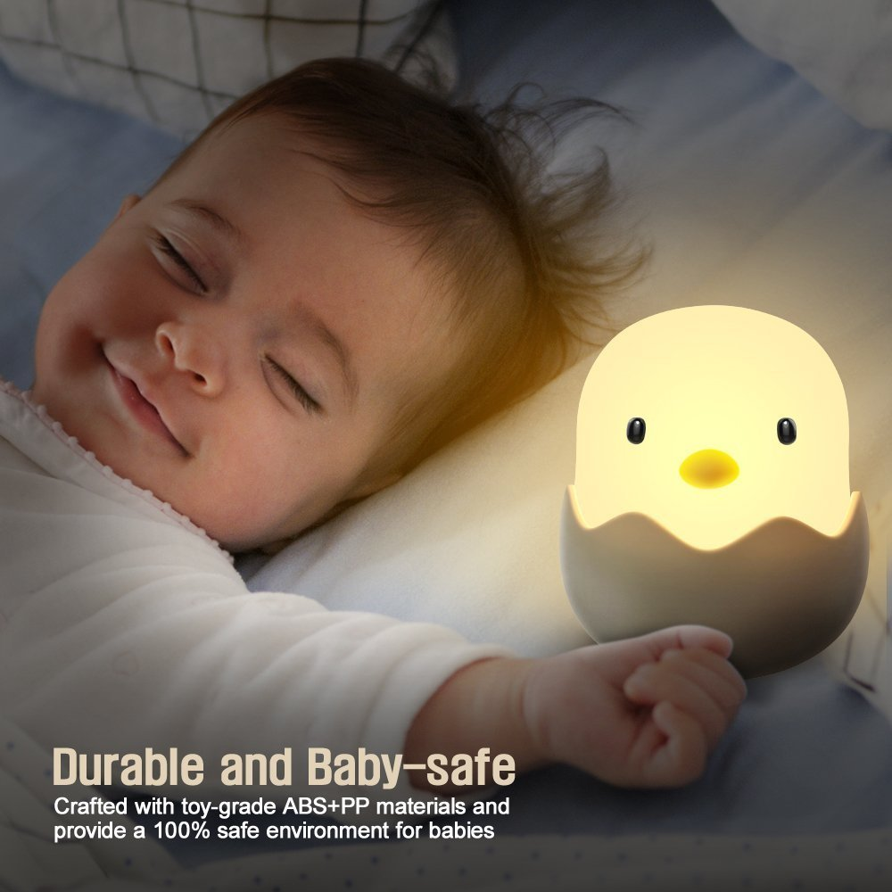 Baby Girl Boys Gifts Soft Silicone Kids Nightlight Rechargeable LED Touch Lamp Birthday Gifts for Toddler Kids Tecboss Baby Night Light Cute Chick Night Light for Kids