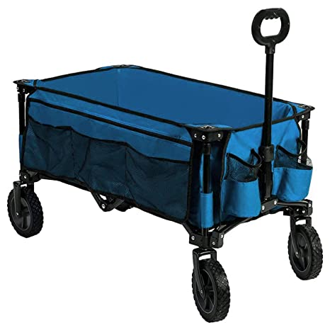 TimberRidge Carrito plegable con ruedas, ideal para camping o jardín, funciona en todos los