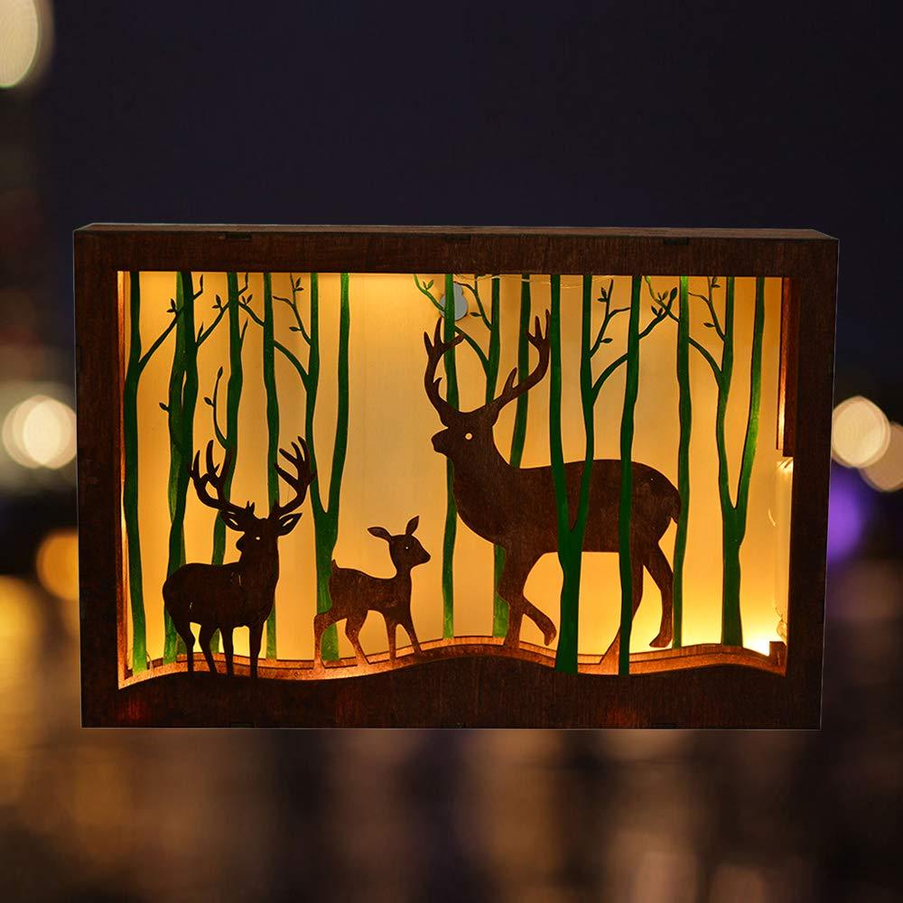 JuneJour Christmas Elk Papercut Light Night Light Lamp Wooden Framed Forest Elk Christmas Decorations