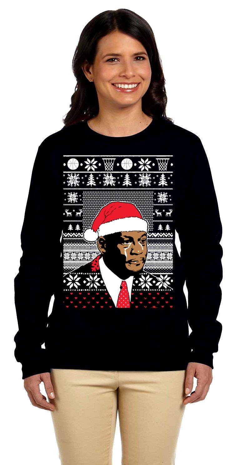 Women's Jordan Crying Meme Ugly Christmas Sweater Sweatshirt Large Black