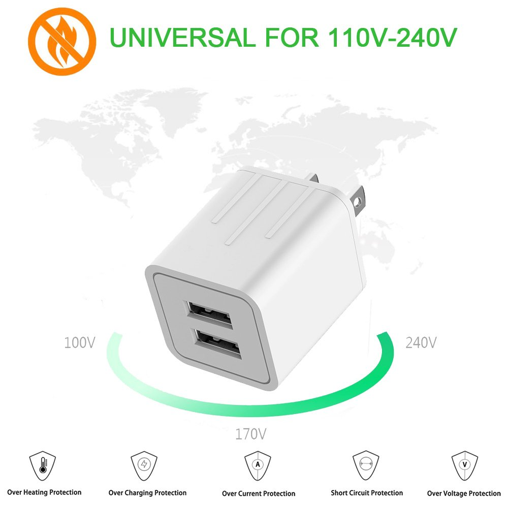 Iphone Charger Yunsong 42a 21w Dual Port Travel Power Adapter With Usb Data Voltage Nylon Braided Lightning Cable 6ft 2pack Sync Charging Cord For