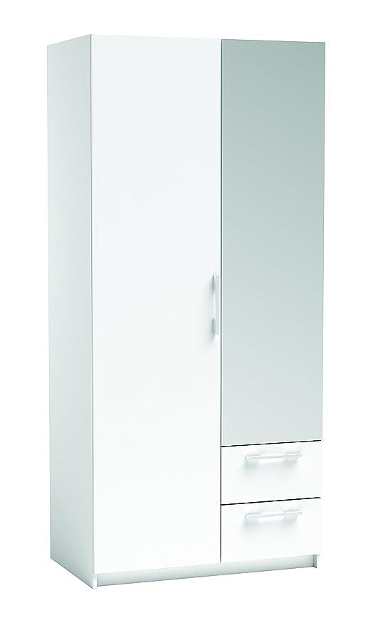 Miroytengo Armario ropero Blanco con Espejo 2 Puertas 2 cajones, para Dormitorio 93x203x55 cm