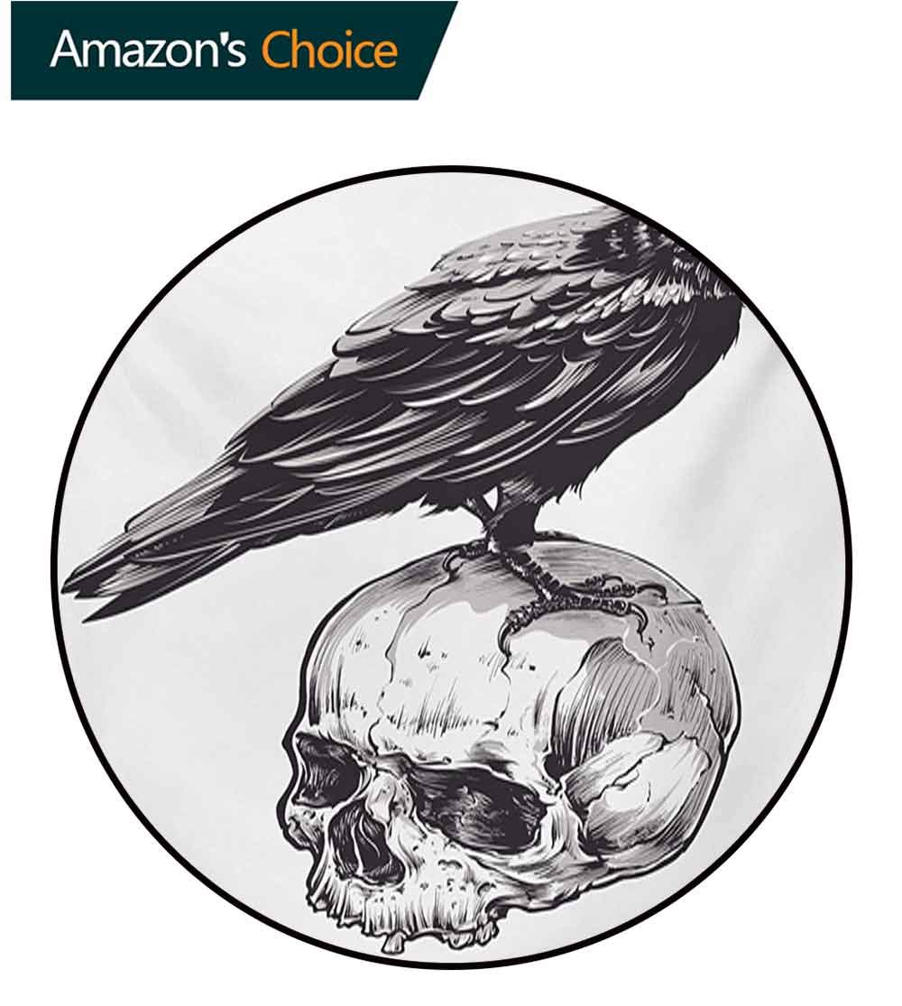 RUGSMAT Scary Small Round Rug Carpet,Scary Movies Theme Crow Bird Sitting On A Human Old Skull Sketchy Image Door Mat Indoors Bathroom Mats Non Slip,Diameter-51 Inch Charcoal Grey White