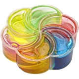 Sannysis Rainbow Slime Crysta Jelly Toy Soft Slime Scented Stress Relief Fluffy Floam Slime Sludge Diy Slime Toys 7.5ラ7.5ラ2.5Cm (Rainbow)