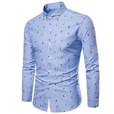 Blusa para Hombre Impresa, Causal de la Moda Casual de otoño de los