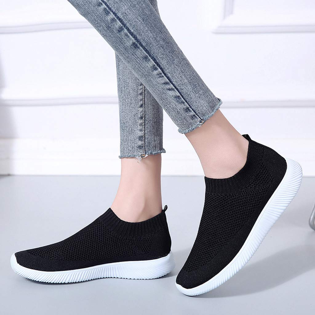 Naladoo 2019 Womens Casual Walking Shoes Breathable Mesh Work Slip-on Sneakers