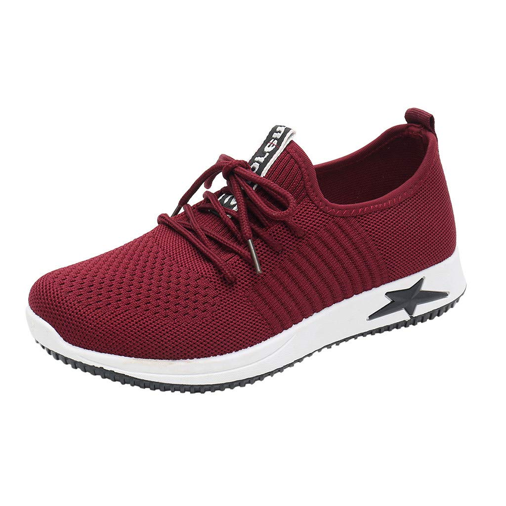 TIFENNY Womens Fashion Casual Sneakers Solid Color Lace Up Mesh Breathable Shoes Sport Running Shoes Sneaker