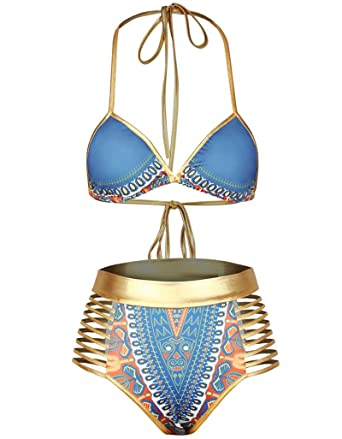 8dc1495af8ff Amazon.com: Huiyuzhi Womens African Dashiki Tribal Print Metallic 2 Piece  Cut Out High Waist Bikini Set Swimsuit: Clothing