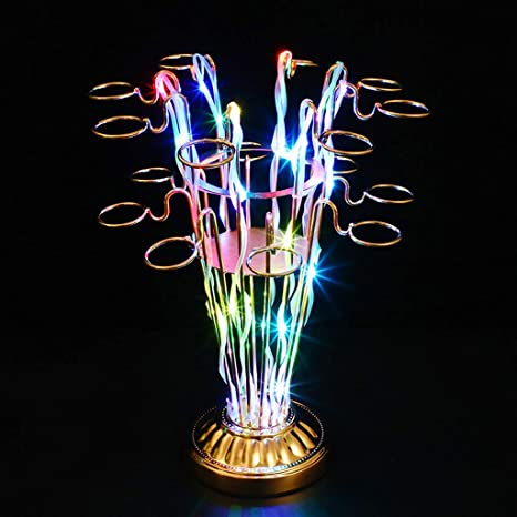 GYDD Soportes para Copas, LED Colorido árbol Stemware Racks KTV Bar 16 Cup Hole (