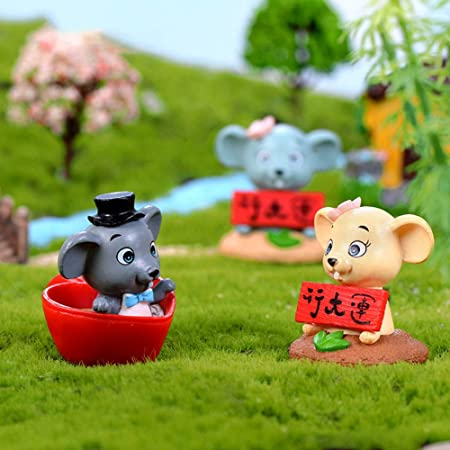 Chinese New Year Mascot Fortune Mouse Figurine Mini Bonsai Fairy Garden Decor Statues Lawn Ornaments Yard Garden Outdoor Living