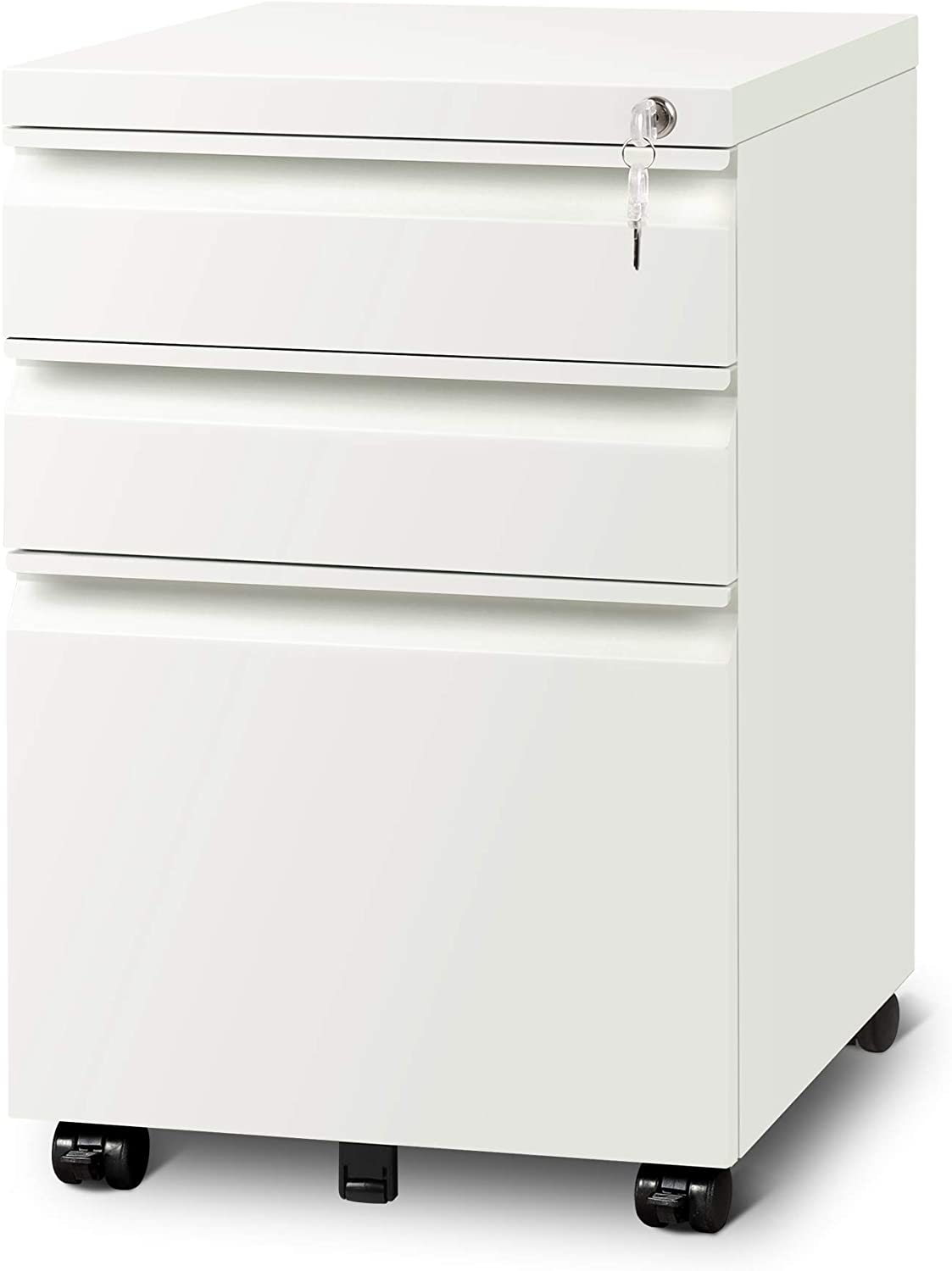 Steel Construction 3-Drawer Mobile Metal File Cabinet with Lock and Keys,Fully Assembled Except Casters,White