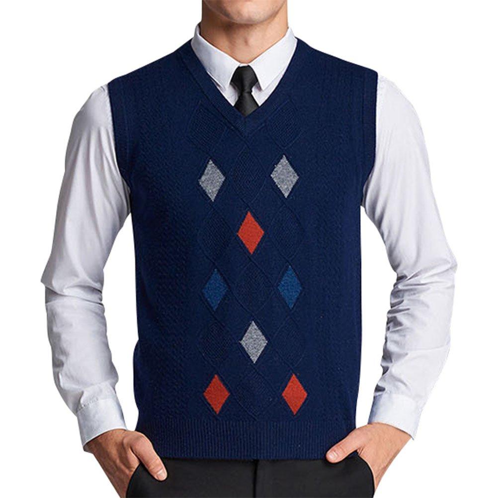Lyamazing Men's Sleeveless Argyle Sweater Vest