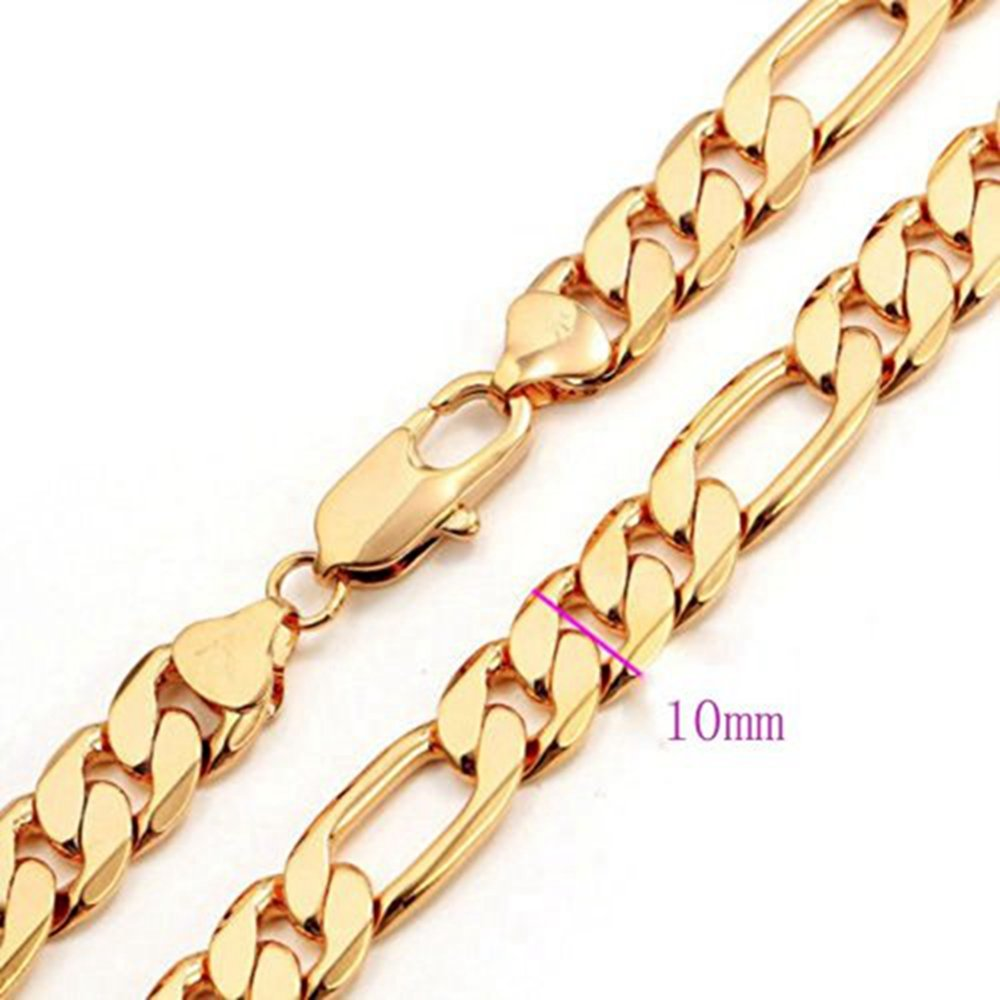Skyjewelry Figaro Chain 24k Yellow Gold Plated Massive Heavy Mens Necklace Chain 24inches N01201