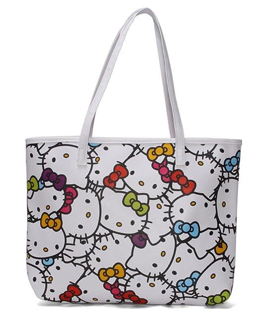 b881f89c94 Hello Kitty Faux Leather Shoulder Tote Bag   Muti Color Faces   Amazon.com.au  Fashion