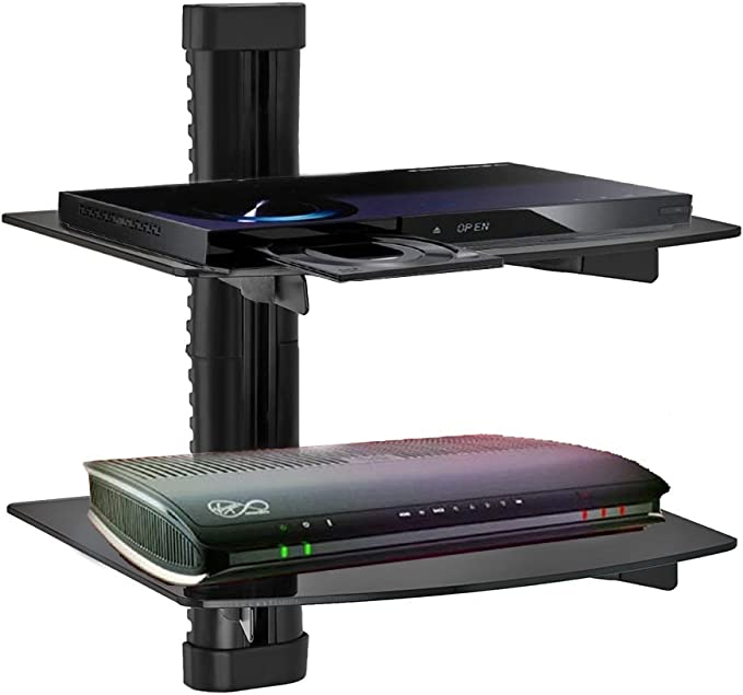 ogori 2 estantes negro de vidrio templado LCD LED TV Soporte de pared para caja de cable/satélite para DVD Sky Box consola de juegos – perfecto ocultar la diseño de Cable: Amazon.es: