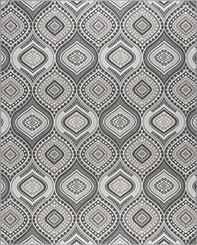 (Tayse Imogen Contemporary Geometric Charcoal Rectangle Area Rug, 4' x 6')