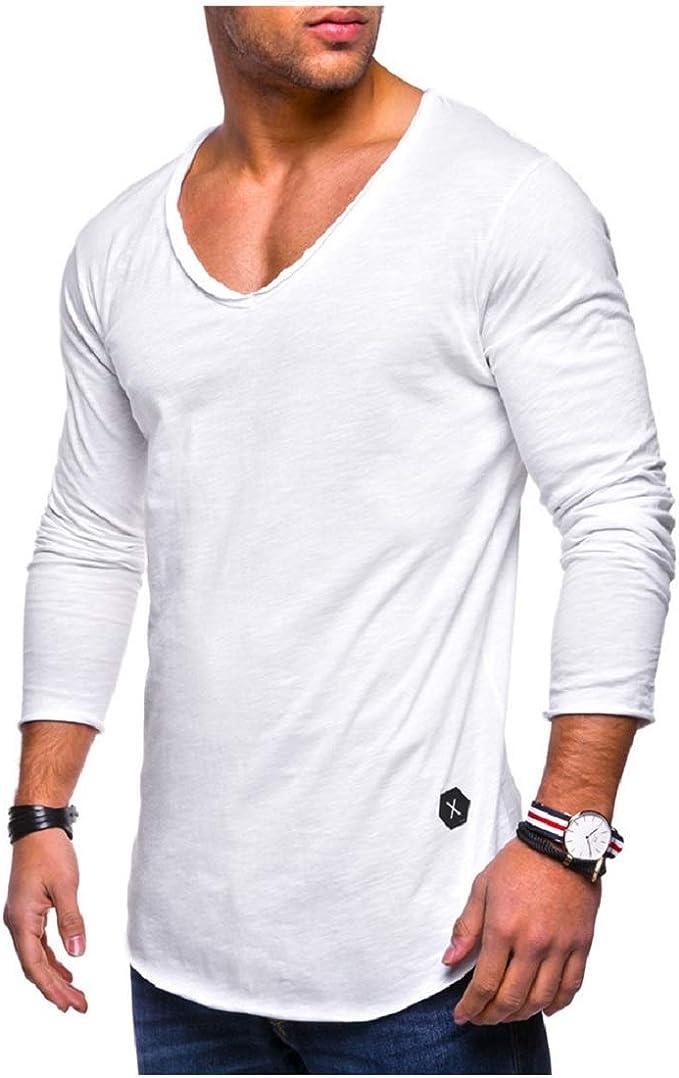 Camisetas Hombre, Moda Cuello Bajo Camisa T-Shirt Manga Larga ...