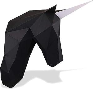 Paperraz DIY 3D Unicorn Head Animal PaperCraft Building Kit Wall Mount - NO Scissors Needed